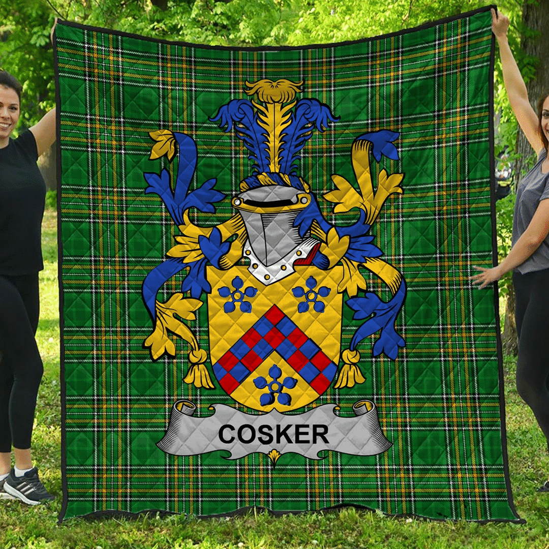 1sttheworld Premium Quilt - Cosker Or Mccosker Irish Family Crest Quilt - Irish National Tartan A7