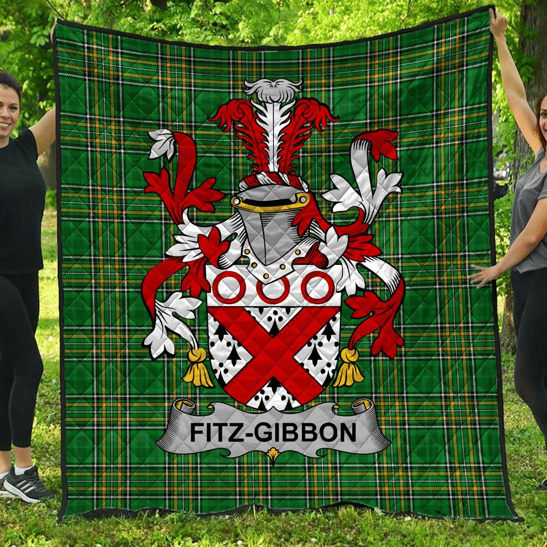 1sttheworld Premium Quilt - Fitz-Gibbon Irish Family Crest Quilt - Irish National Tartan A7