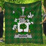 1sttheworld Premium Quilt - Quirke Or O'Quirke Irish Family Crest Quilt - Irish National Tartan A7