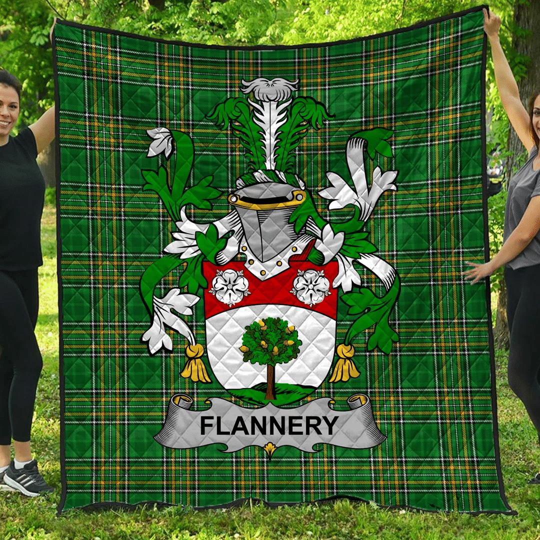 1sttheworld Premium Quilt - Flannery Or O'Flannery Irish Family Crest Quilt - Irish National Tartan A7