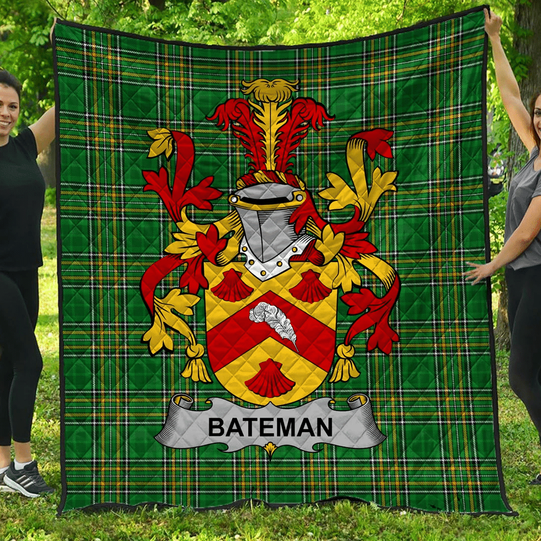 1sttheworld Premium Quilt - Bateman Irish Family Crest Quilt - Irish National Tartan A7
