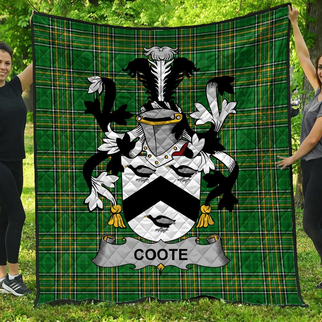 1sttheworld Premium Quilt - Coote Irish Family Crest Quilt - Irish National Tartan A7