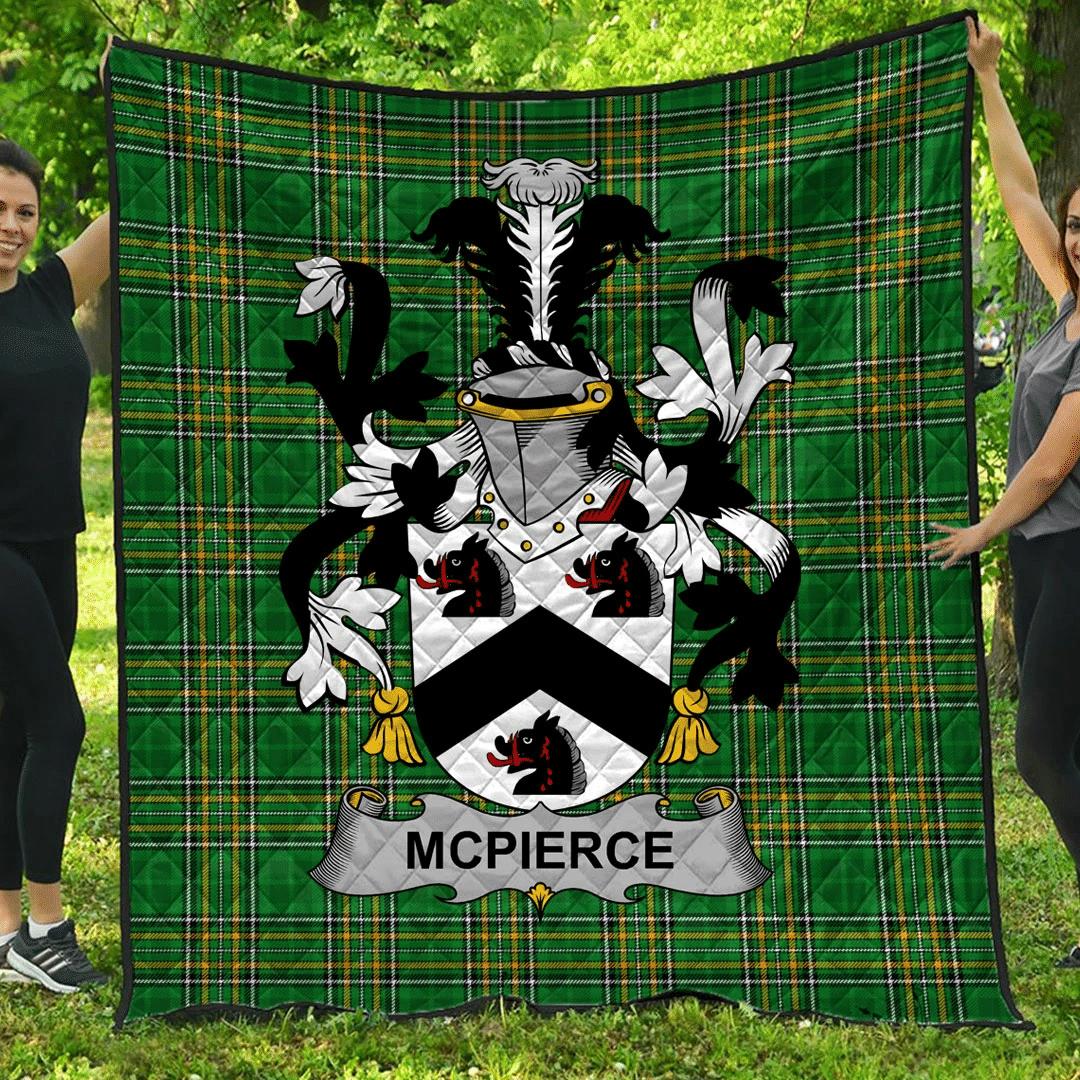 1sttheworld Premium Quilt - Mcpierce Or Pierce Irish Family Crest Quilt - Irish National Tartan A7
