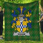 1sttheworld Premium Quilt - Exham Irish Family Crest Quilt - Irish National Tartan A7