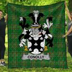1sttheworld Premium Quilt - Conolly Or O'Conolly Irish Family Crest Quilt - Irish National Tartan A7