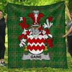 1sttheworld Premium Quilt - Gaine Or Gainey Irish Family Crest Quilt - Irish National Tartan A7