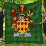 1sttheworld Premium Quilt - Lavin Or O'Lavin Irish Family Crest Quilt - Irish National Tartan A7