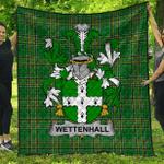 1sttheworld Premium Quilt - Wettenhall Irish Family Crest Quilt - Irish National Tartan A7