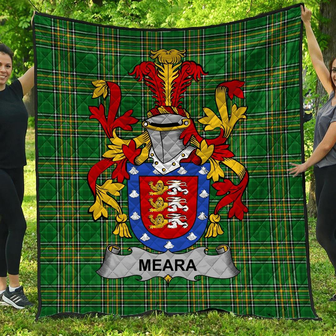 1sttheworld Premium Quilt - Meara Or O'Mara Irish Family Crest Quilt - Irish National Tartan A7