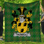 1sttheworld Premium Quilt - Trumbull Or Turnbull Irish Family Crest Quilt - Irish National Tartan A7