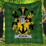 1sttheworld Premium Quilt - Echlin Irish Family Crest Quilt - Irish National Tartan A7