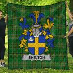 1sttheworld Premium Quilt - Shelton Irish Family Crest Quilt - Irish National Tartan A7