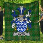 1sttheworld Premium Quilt - Darcy Or Dorsey Irish Family Crest Quilt - Irish National Tartan A7