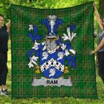 1sttheworld Premium Quilt - Ram Irish Family Crest Quilt - Irish National Tartan A7