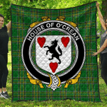 1sttheworld Premium Quilt - House Of O'Crean Irish Family Crest Quilt - Irish National Tartan A7