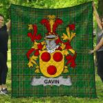 1sttheworld Premium Quilt - Gavin Or O'Gavan Irish Family Crest Quilt - Irish National Tartan A7