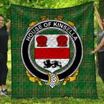 1sttheworld Premium Quilt - House Of Kinsella Irish Family Crest Quilt - Irish National Tartan A7