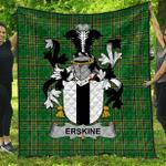 1sttheworld Premium Quilt - Erskine Irish Family Crest Quilt - Irish National Tartan A7