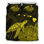 Alohawaii Home Set - Hawaii Polynesian Hibiscus Turtle Map Bedding Set - AH - Yellow - J5