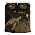 Alohawaii Home Set - Hawaii Polynesian Hibiscus Turtle Map Bedding Set - AH - Gold - J5
