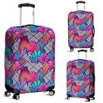 Alohawaii Accessory - Tropical Exotic Leaves And Flowers On Geometrical Ornament Luggage Cover