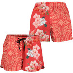 Alohawaii Short - Hawaii Hibiscus Flower Polynesian Women's Shorts - Curtis Style - Orange