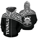 Alohawaii Clothing - Zip Hoodie Tuvalu Polynesian Curve Black - Bn39