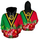 Alohawaii Clothing - Zip Hoodie Vanuatu Polynesian Flag Hibiscus - Bn39