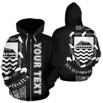 Alohawaii Clothing - Zip Hoodie Tuvalu Polynesian Personalised Custom Line Black - Bn39