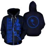 Alohawaii Clothing - Zip Hoodie Chuuk Custom Personalised - Micronesia Chuukese Warrior Blue - BN39