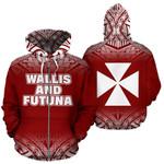 Alohawaii Clothing - Zip Hoodie Wallis And Futuna All Over - Fog Red Style - Bn09