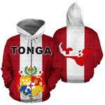 Alohawaii Clothing - Zip Hoodie Tonga Polynesian - Flag And Coat Of Arm - Bn12