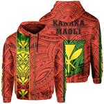 Alohawaii Clothing - Zip Hoodie Polynesian Kanaka Flag Kanaka Maoli Hawaii - Orange - AH - J6