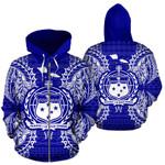 Alohawaii Clothing - Zip Hoodie Samoa Polynesian All Over Map Blue - BN39