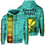 Alohawaii Clothing - Zip Hoodie Polynesian Kanaka Flag Kanaka Maoli Hawaii - Turquoise - AH - J6
