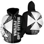 Alohawaii Clothing - Zip Hoodie Wallis and Futuna Polynesian - Black Line - BN11
