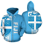 Alohawaii Clothing - Zip Hoodie Fiji Polynesian Tapa - Blue Line - BN11