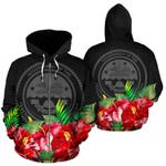 Alohawaii Clothing - Zip Hoodie Federated States Of Micronesia Black Hibiscus - BN39