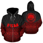 Alohawaii Clothing - Zip Hoodie Federated States Of Micronesia Polynesian Red Black Pride Map And Seal - BN39