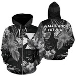 Alohawaii Clothing - Zip Hoodie Wallis And Futuna Coat Of Arms Hibiscus (Black) TH5