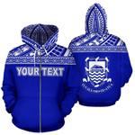 Alohawaii Clothing - Zip Hoodie Tuvalu Polynesian Personalised Custom Horizontal Blue - Bn39