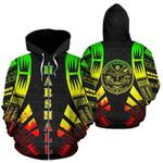 Alohawaii Clothing - Zip Hoodie Marshall Islands All Over - Reggae Tattoo Style - Bn01