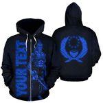 Alohawaii Clothing - Zip Hoodie Pohnpei Custom Personalised - Micronesia Pohnpeian Warrior Blue - BN39