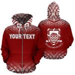 Alohawaii Clothing - Zip Hoodie Tuvalu Polynesian Personalised Custom Fog Red - Bn39