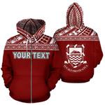 Alohawaii Clothing - Zip Hoodie Tuvalu Polynesian Personalised Custom Horizontal Red - Bn39