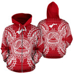 Alohawaii Clothing - Zip Hoodie American Samoa Polynesian All Over Map Red White - BN39
