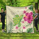 Alohawaii Home Set - Cute Turtle Hibiscus Premium Quilt J0