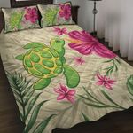 Alohawaii Home Set - Cute Turtle Hibiscus Quilt Bed Set J0