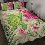 homeseta7 Alohawaii Home Set - Cute Turtle Hibiscus Quilt Bed Set J0