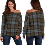 Tartan Womens Off Shoulder Sweater - BlackWatch Weathered